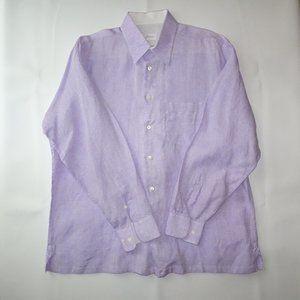 Brioni Linen Button Down | Purple | VGUC | Large